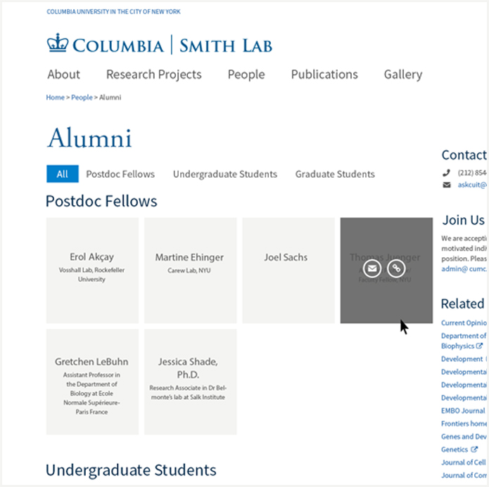 Screenshot of alumni feature