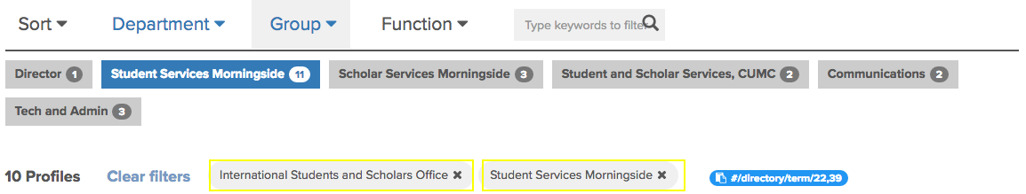 "directory filtered to ""International Students and Scholars Office"" and ""Student Services Morningside""."