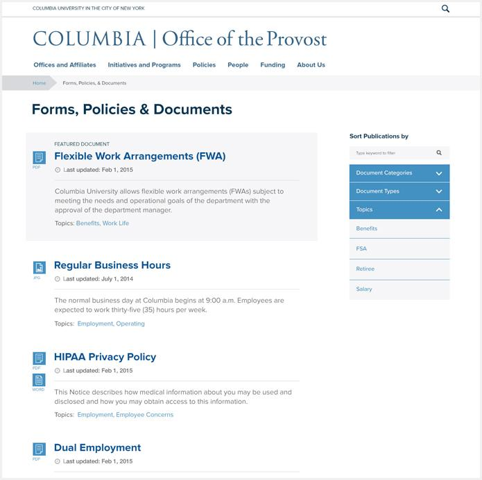 Forms, Documents, and Policies Feature