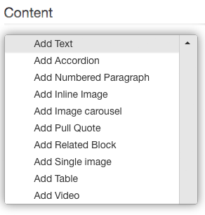 interface for adding different types of content