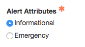 select type of alert: information or emergency
