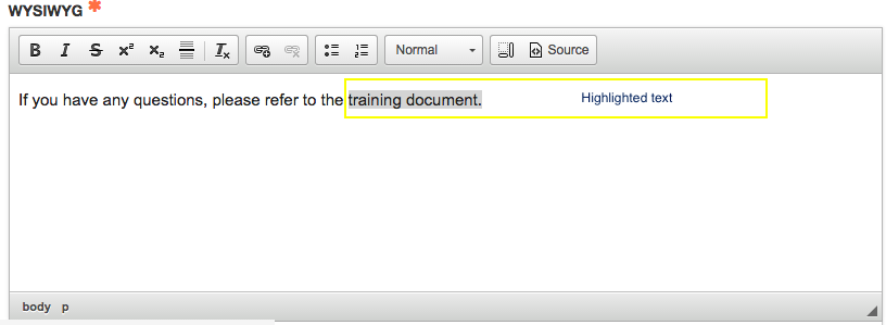 text highlighted in WYSIWYG for the link to document