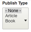 dropdown for selecting publication type