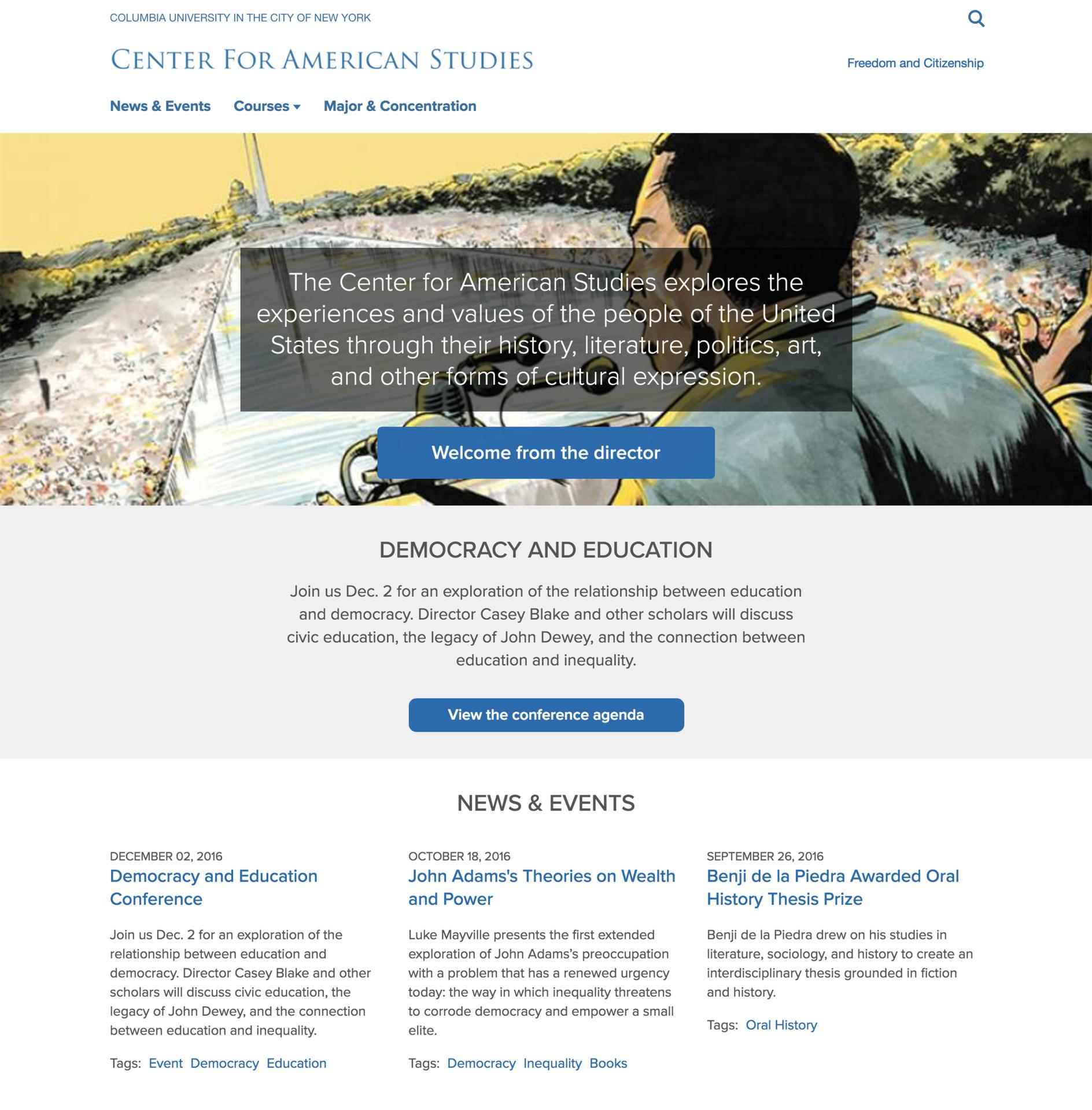 Screen grab of the Center for American Studies Site website homepage