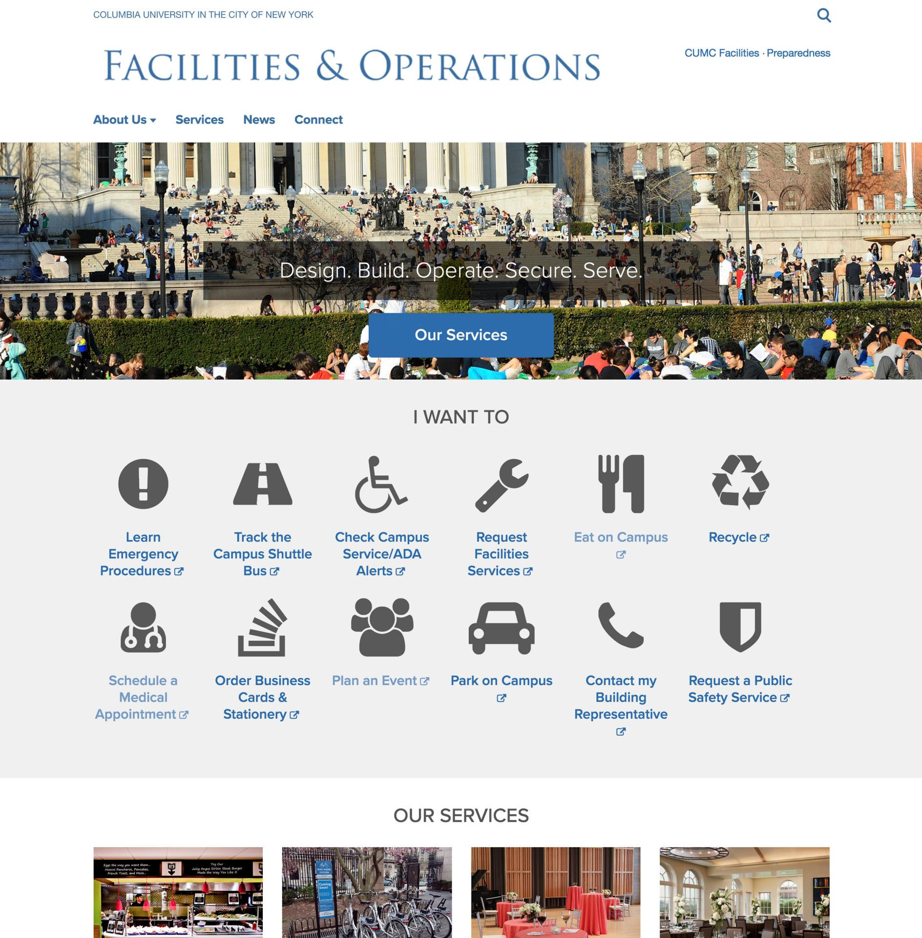 Facilities & Operations Site Screenshot