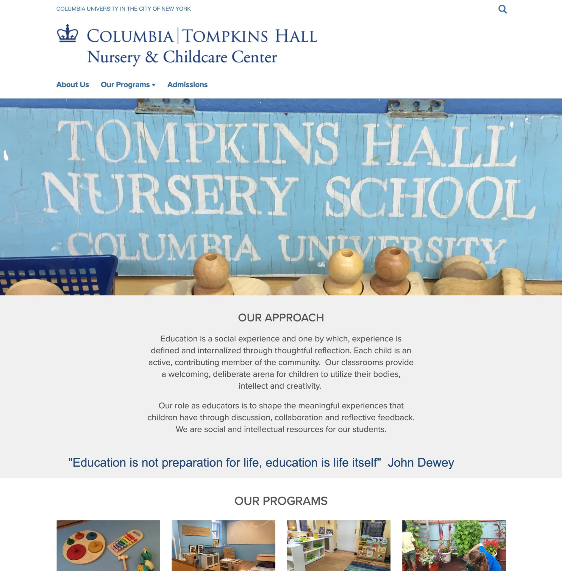 Tompkins Hall Nursery & Childcare Center Site Screenshot
