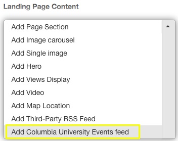 interface for selecting Add Columbia University Events feed