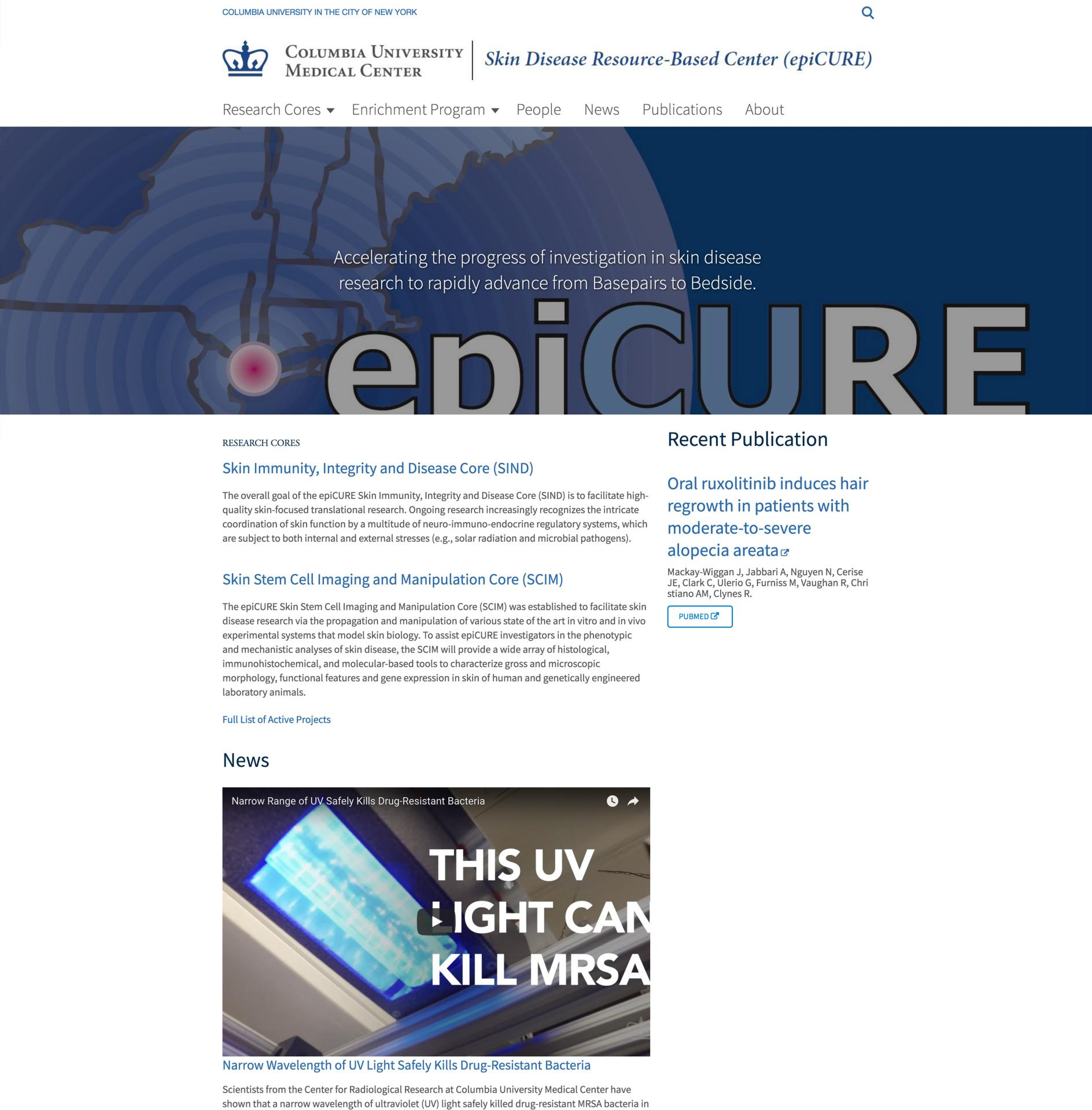 The epiCURE Center Site Screenshot