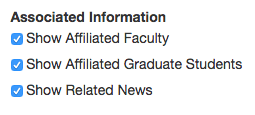 interface for selecting faculty, grad students, and news articles for the research interest