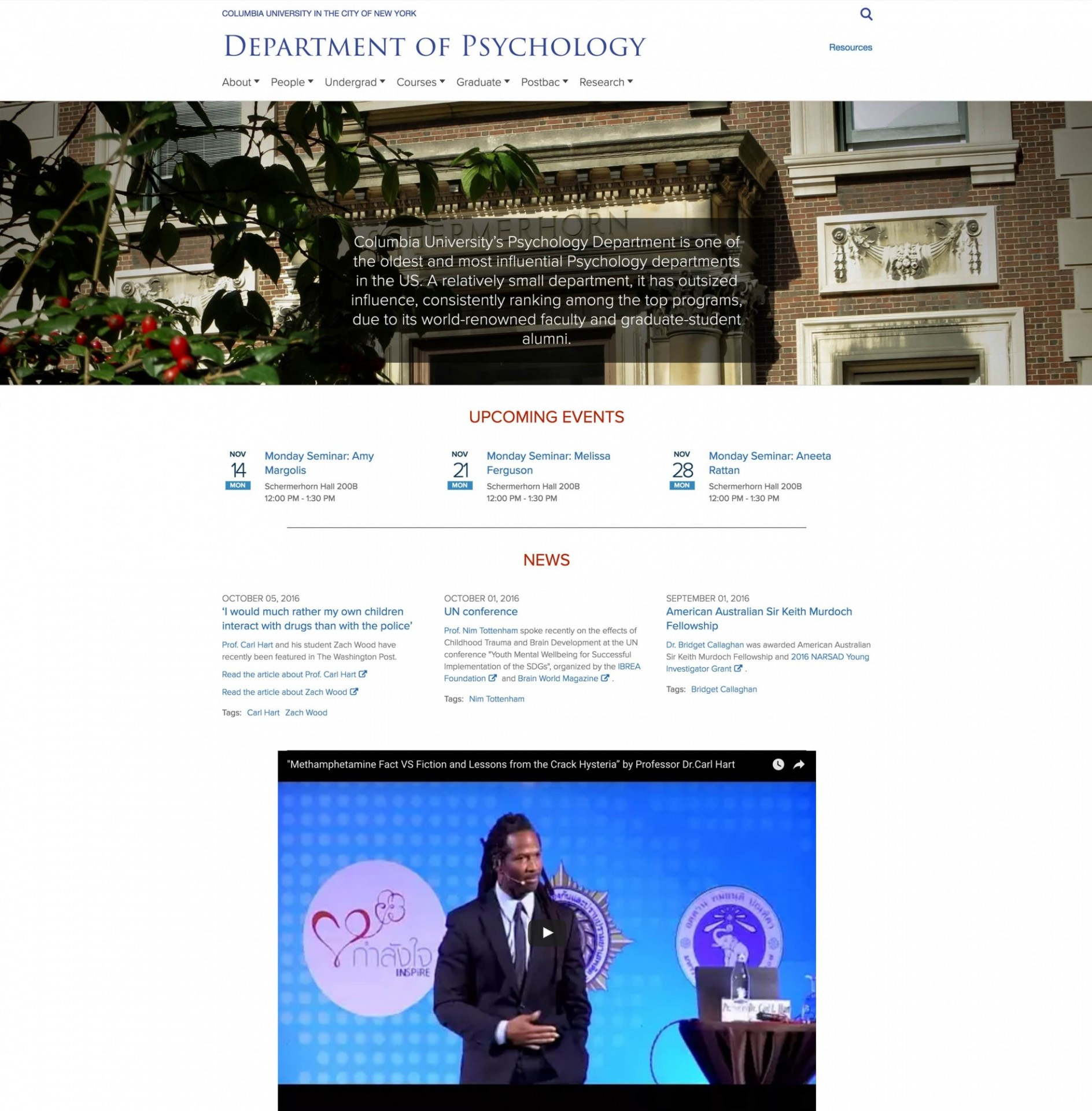Department of Psychology homepage screenshot