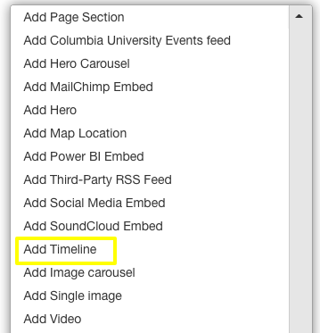 add timeline from the content menu