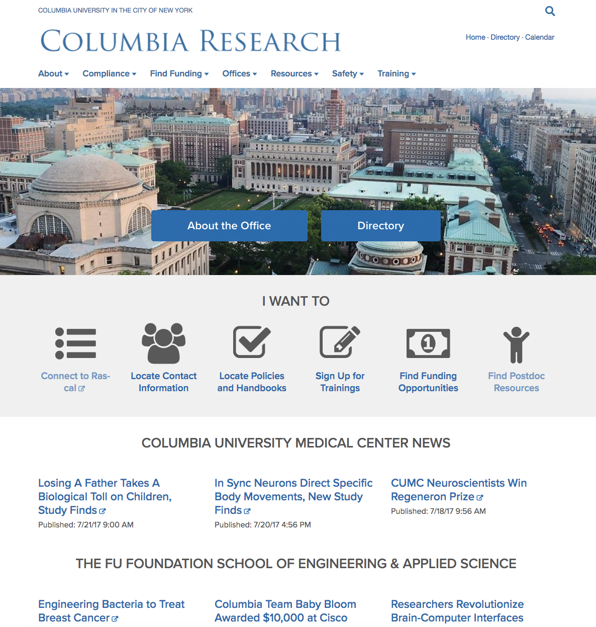 Columbia Research homepage screenshot