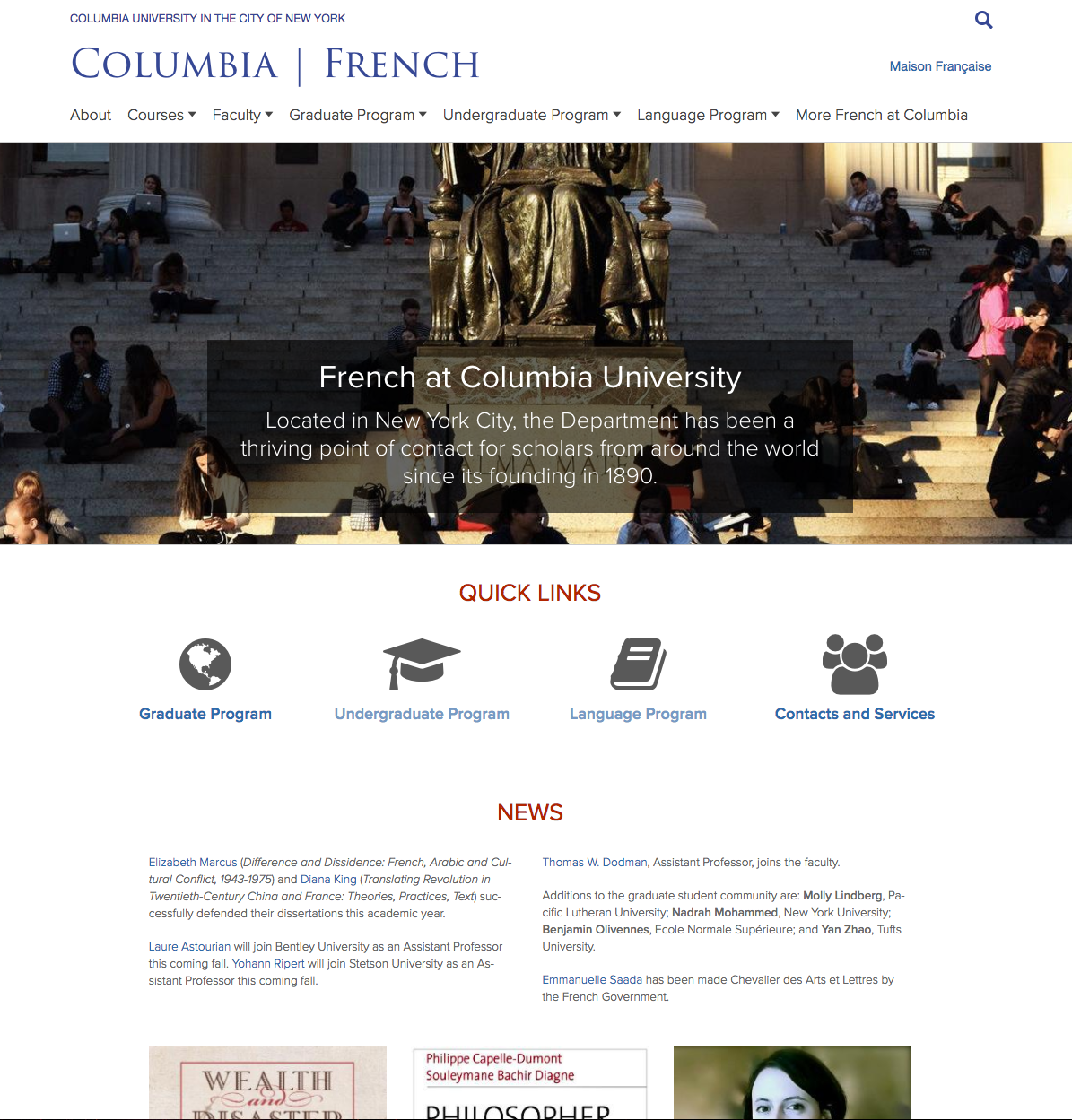 Columbia French Department homepage screenshot