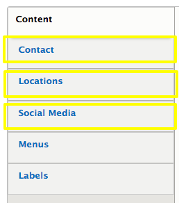 the contact, locations, and social media tabs