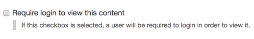 Require login to view this content checkbox