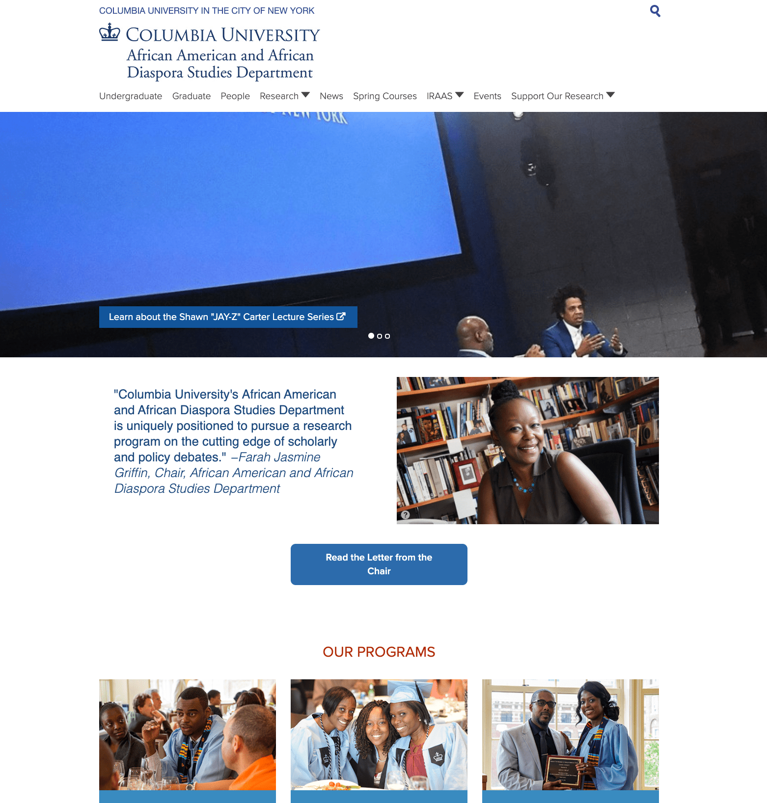 African American and African Diaspora Studies Department homepage screenshot
