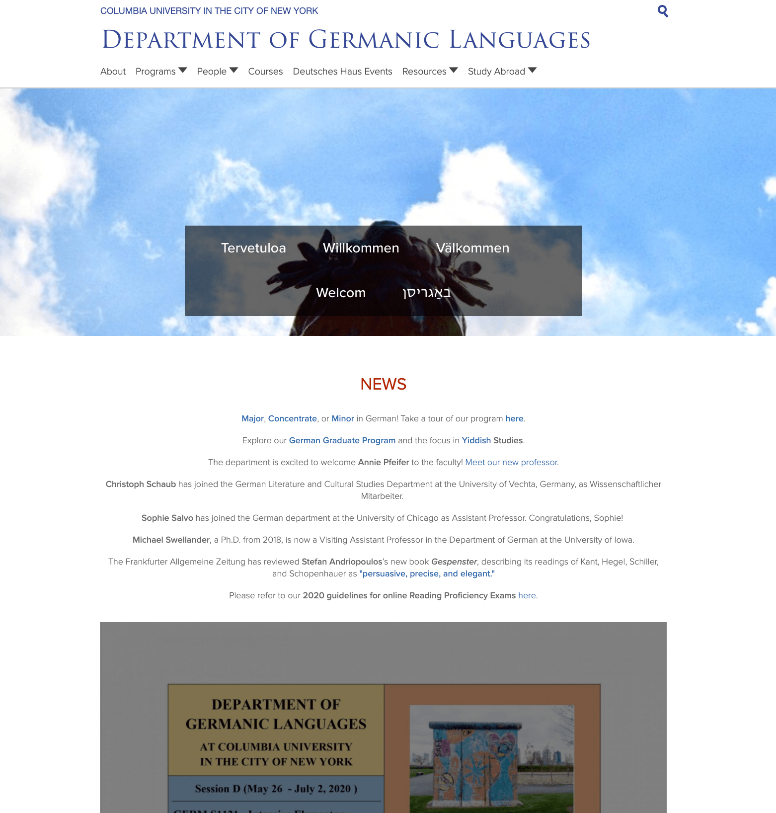 Department of Germanic Languages homepage screenshot