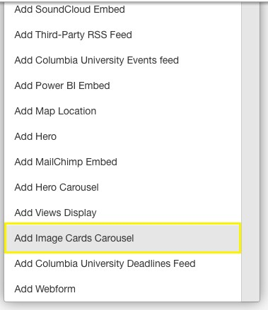 interface to select image cards carousel