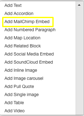 field to enter mailchimp embed code