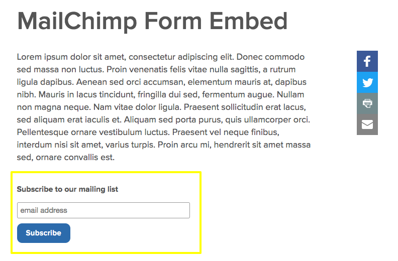 mailchimp embedded on page