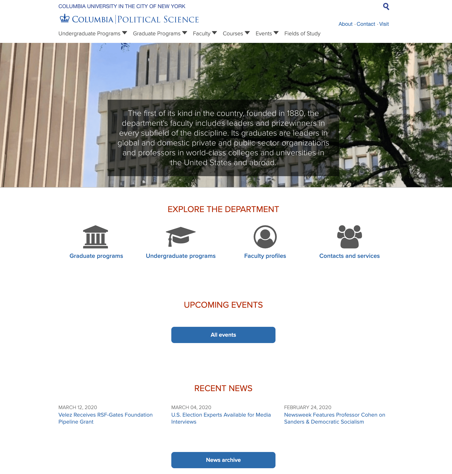 Department of Political Science homepage screenshot