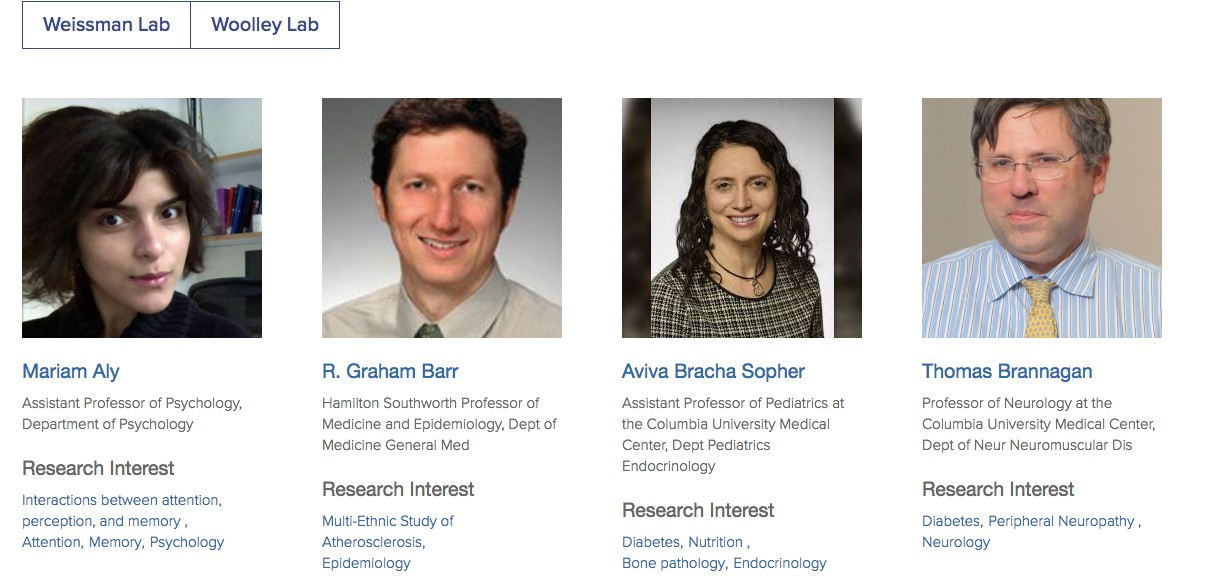screenshot of academic profiles