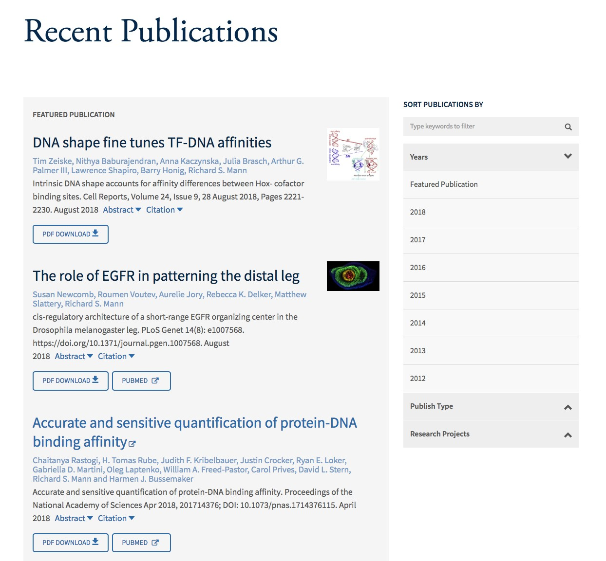 screenshot of publications