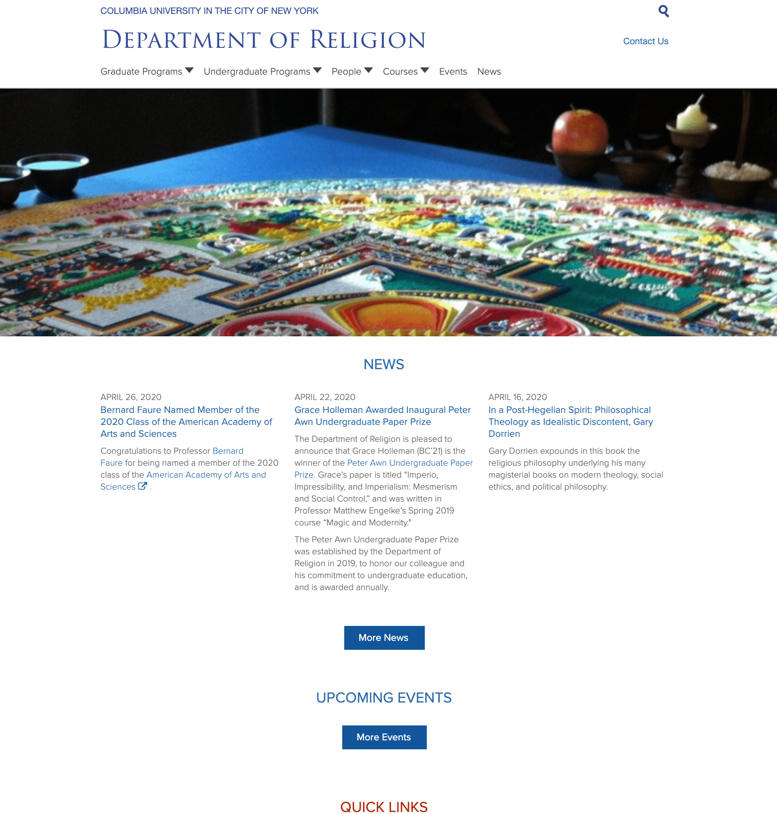 Department of Religion homepage screenshot