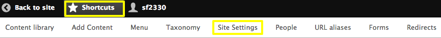 Site Settings buttons